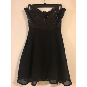 Black sparkly strapless dress
